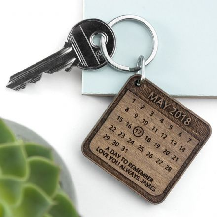 Personalised A Day To Remember Square Wooden Keyring